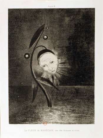Odilon Redon, La fleur du marecage, une tête humaine et triste (Flower of the swamp, a head human and sad) (1885), lithograph from the portfolio Homage à Goya (1885), 27.5 x 20.5 cm. Photo: ©BNF.