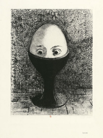 Odilon Redon, l'Oeuf (the Egg) (1885), lithograph, 29.3 x 22.5 cm. Photo: ©BNF.