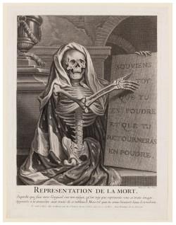 Fig. 10. After Antoine Dieu, Representation de la Mort (18th century), engraving, 28 x 21 cm. The Victoria and Albert Museum, no. 25247.
