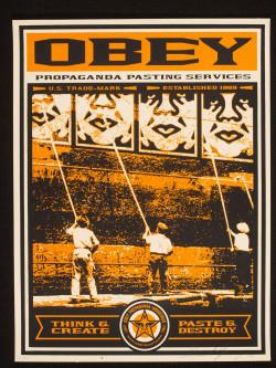 Fig. 9. Shepard Fairey, Obey Propaganda Pasting Services (c. 2000), screenprint: 61 x 45.8 cm. Victoria and Albert Muno. E.364-2006, ©Shepard Fairey.