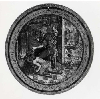 Fig. 2. Anonymous, December, from The Labors of the Months (17th century), round engraving on paper, colored and pasted on wooden trencher. British Museum, London, ©Trustees of the British Museum.