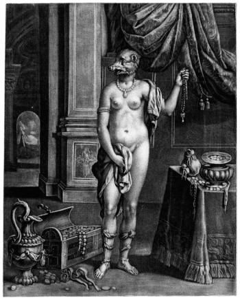 Fig. 3.  Anonymous (possibly published by John Smith), The Bear-faced Lady (c. 1680s), mezzotint on paper. British Museum, London, ©Trustees of the British Museum.