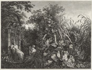 Fig. 2. Carl Wilhelm Kolbe the Elder, Youth Playing a Lyre to a Maiden by a Fountain (ca. 1802‐3), etching and drypoint, image 41.2 x 53.2 cm, sheet 47.4 x 60.2 cm. Courtesy of the Philadelphia Museum of Art.