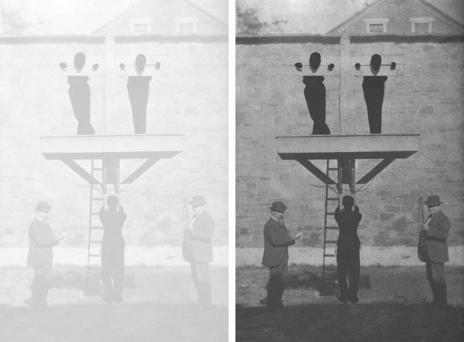 Left: Hank Willis Thomas, Blow the Man Down (2013) (ambient lighting). Right: Hank Willis Thomas, Blow the Man Down (2013) (flash lighting).