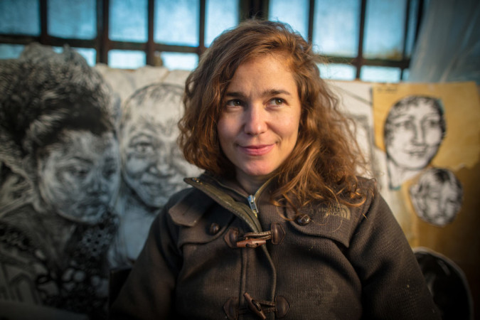 Swoon in her studio, Red Hook, Brooklyn, 2013.
