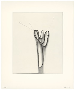 Al Taylor, Hanging Puddles II (1991), drypoint, sugar lift aquatint, and spit bite aquatint printed in black from one copper plate, image 50.2 x 40 cm, sheet 71.1 x 58.1 cm. Edition of 20. Catalogue Raisonné No. 112. ©2014 The Estate of Al Taylor; courtesy of David Zwirner, New York/London.