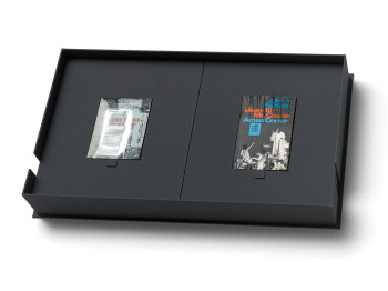 Arturo Herrera, Books (Set #1 in presentation box) (2012), screenprint and mixed media on paper (books) in linen-covered wooden box, 64.8 x 40.3 x10.2 cm.