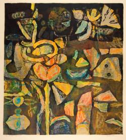 Ray Yoshida, The Garden Island (c.1960), color screenprint monoprint on cream wove paper, image 48 x 43.7 cm, sheet 66.3 x 50.9 cm. Gift of the Raymond K. Yoshida Living Trust and Kohler Foundation, Inc., 2011.199. The Art Institute of Chicago. Photography ©The Art Institute of Chicago.