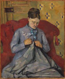 Paul Cézanne, Madame Cézanne Sewing (Portrait of the Artist's Wife) (c.1877), oil on canvas, 59.5 x 49.5 cm. Nationalmuseum, Stockholm.