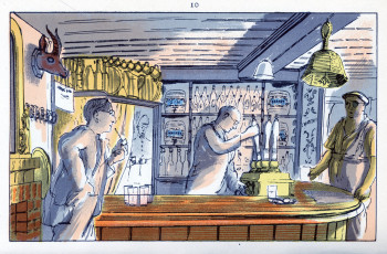 Edward Bawden, The Bell (1949), color lithograph from six hand-drawn zinc plates, 9.8 cm x 15.5 cm. ©The Estate of Edward Bawden.