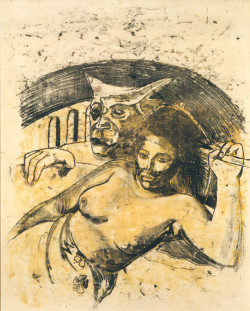 Paul Gauguin, Tahitian Woman with Evil Spirit, recto (ca. 1900), oil-transfer drawing, sheet 56.1 x 45.3 cm. Private collection.