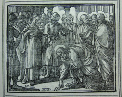 Fig. 4. Leonardo Parasole (after Antonio Tempesta), Christ and the Woman Taken in Adultery from the interlinear version of the Evangelium (1591), woodblock print, 10 x 12.5 cm. Rome: Tipografia Medicea.