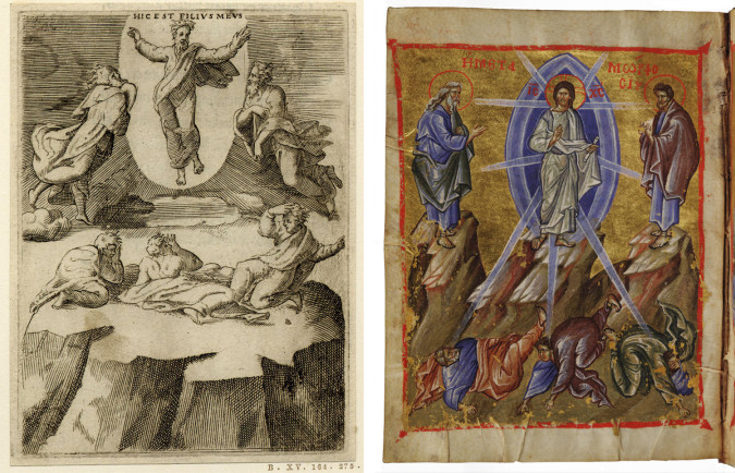 Left: Fig. 7. Giulio Bonasone (after Raphael), The Transfiguration of Christ from Achilles Bocchius, Symbolicarum quaestionum de universo genere (1555), engraving, 11 x 8 cm. Bologna. ©The Trustees of the British Museum. Right: Fig. 8. Giulio Bonasone (after Raphael), The Transfiguration of Jesus Christ, from cycle of the great feasts of scenes from the lives of Jesus and Mary (manuscript 1322-40), Greek. MS. Gr. th. f. 1. ©The Bodleian Libraries, University of Oxford/The Art Archive at Art Resource/Art Resource, NY.