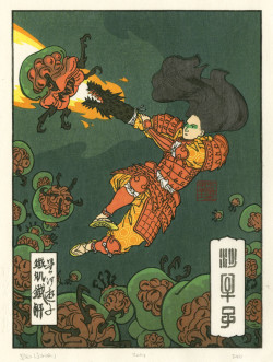 Jed Henry, Infestation (2011), color woodblock print, 9 x 7 inches. Mokuhankan Woodblock Prints, Tokyo. Courtesy of the artist.
