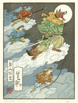 Jed Henry, Fox Moon (2012), color woodblock print, 9 x 7 inches. Mokuhankan Woodblock Prints, Tokyo. Courtesy of the artist.