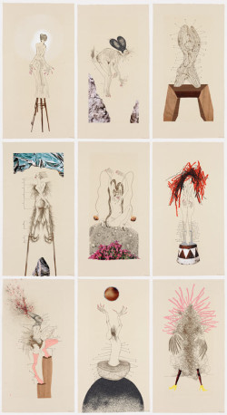 Wangechi Mutu, The Original Nine Daughters (2012), series of nine etching, relief, letterpress, digital printing, collage, pochoir, hand coloring and handmade carborundum appliques, image 15 x 7 inches each, sheet 19 x 10 inches each. Edition of 30. Printed and published by Pace Editions, New York. Courtesy of the artist and Pace Editions, Inc.