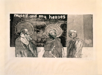 David Hockney, Myself and My Heroes (1961), etching in black with aquatint, 10 1/4 x 19 3/4 inches. Edition of 50 (approximately). ©David Hockney.
