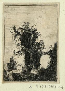 Fig. 11. Bartholomeus Breenbergh, Les ruines romaines, planches 3: ruines de San Lorenzo Vecchio près de Bolsena (Ruins of San Lorenzo Vecchio near Bolsena, plate 3 from The Roman ruins) (1639–1640), etching, image 9.4 x 6.6 cm, sheet 9.9 x 7.2 cm. ©Cabinet d'arts graphiques des Musées d'art et d'histoire, Genève, inv. n° E 2012- 0381 -003. Photo: MAH-CdAG.