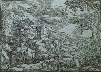 Fig. 1. Esaias van de Velde (attributed to), Arcadian Landscape (early 17th century), woodcut on blue paper, unique impression of the first state, 18 x 25 cm. Collection of the New York Public Library. Photo: Robert Fucci.