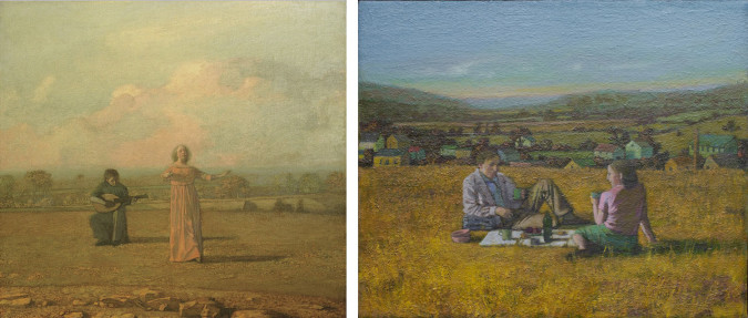 Left: Gillian Pederson-Krag, Two Performers (1981), oil on canvas, 22 x 24 inches. Innes Collection, Charlottesville, VA. Right: Gillian Pederson-Krag, Picnic (2009), oil on canvas, 18 x 15 inches.