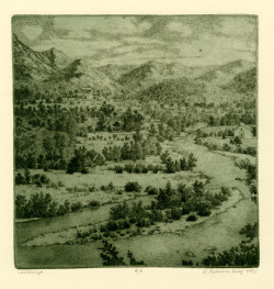 Gillian Pederson-Krag, Landscape (1991), soft ground and hard ground etching, 9 x 9 1/2 inches.