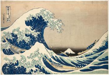 Katsushika Hokusai, Kanagawa oki namiura (The Great Wave off Kanagawa) from the series Fugaku sanjurokkei (Thirty-six Views of Mount Fuji) (ca. 1830–34), color woodblock print (nishiki-e), 25.6 × 37.2 cm. Koninklijke Musea voor Kunst en Geschiedenis (Royal Museums of Art and History), Brussels. ©Royal Museums of Art and History, Brussels.