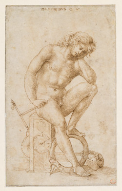 Marcantonio Raimondi, Melancholic Youth (ca. 1507–08), pen and brown ink on paper, 17.6 x 10.7 cm. Berlin, Kupferstichkabinett—Staatliche Museen zu Berlin, KdZ 15231. ©Staatliche Museen zu Berlin, Kupferstichkabinett / Volker H. Schneider