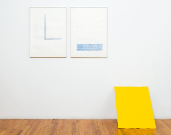 Richard Tuttle, In Praise of Historical Determinism I, II, III (1973-74), two lithographs printed in blue, one screenprint in chrome yellow (set of three). ©Brooke Alexander Inc., New York.