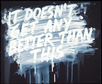Mel Bochner, It Doesn't Get Any Better Than This (2014), 25-color silkscreen on Lanaquarelle paper, 22 1/4 x 30 1/4 inches (overall). Edition of 30, published by Two Palms, New York. To be exhibited at the 2014 IFPDA Print Fair. Courtesy Two Palms, New York.