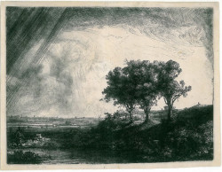 Rembrandt Harmenszoon van Rijn, The Three Trees (1643), etching, engraving and drypoint, 8 3/8 x 11 inches (plate). To be exhibited at the 2014 IFPDA Print Fair. Courtesy Helmut H. Rumbler Kunstandel, Frankfurt.