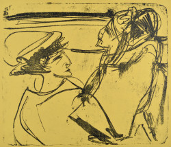 Ernst Ludwig Kirchner, Two Women in a Boat (1912), lithograph on yellow paper, one of four known impressions, 20 x 23 3/8 inches. To be exhibited at the 2014 IFPDA Print Fair. Courtesy Galerie St. Etienne, New York.