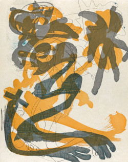 Charline von Heyl, Dust on a White Shirt (Evil Eye) (2014), intaglio, image 24 x 19 inches, paper 31 x 25 inches. Edition of 20. Printed and published by Crown Point Press, San Francisco.