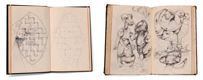 Left: Michael Miller, pages from Sketchbook #29 Chicago (1985), pencil, pen and ink drawings. Right: Michael Miller, pages from  Sketchbook #1 Chicago (1973), ballpoint pen drawings (studies for mid 1970s etchings and intaglios). Photo: Shaurya Kumar.