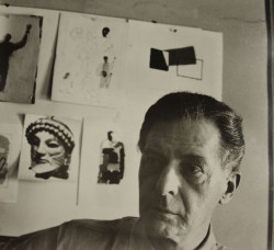 Fig. 1. Photograph of Edward McKnight Kauffer in his New York studio (c. 1945), 21 x 23 cm. Victoria and Albert Museum, London. Bernard Waldman Photograph Collection. Archives of Art and Design: AAD/1987/5/5.