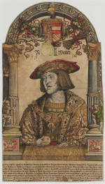 Fig. 1. Attr. Hans Weiditz the Younger, Holy Roman Emperor Charles V (1519), woodcut on vellum from two blocks (gold, black) with hand-coloring, 35.6 × 20.3 cm. Printed by Jost de Negker, Augsburg. The British Museum, London, 1862,0208.55. Image courtesy of the Centre for Heritage Imaging and Collection Care, University of Manchester and © The Trustees of the British Museum.