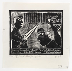 John Muafangejo, S.A. Reserve Bank or Jealousy man wants to kill a rich man for South African money because he carries much money (1981), linocut, 61 x 42.5 cm. Edition of 100. Photo: Wolfgang Günzel, 2015. Collection Weltkulturen Museum, Frankfurt am Main.