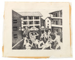 Derrick Mdanda, Confrontation (1983), etching, 24.5 x 30 cm. Edition of 4. Photo: Wolfgang Günzel, 2015. Collection Weltkulturen Museum, Frankfurt am Main.