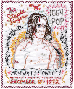 Jenny Hart, Iggy Pop from the Sublime Stitching series (2004), hand embroidery and sequins on cotton, 16 x 24 inches. Courtesy the artist.