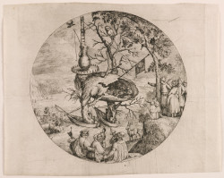 Unknown etcher after Hieronymus Bosch, The Tree-Man (n.d.), etching, sheet 9 1/16 x 11 1/4 inches (trimmed within the platemark, top and bottom). Private collection.