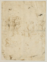 Fig. 10. Follower of  Hieronymus Bosch, The Charlatan (recto) (n.d.), pen and brown ink, 27.8 x 20.6 cm. Musée du Louvre, Paris. ©RMN-Grand Palais / Art Resource, NY.