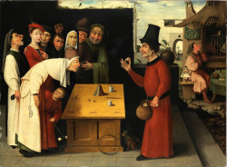Fig. 13. School of Hieronymus Bosch, The Conjurer (after 1500), oil on panel, 84 x 114 cm. The Israel Museum, Jerusalem. Bequest of Oliver O. and Marianne Ostier, New York, to the America-Israel Cultural Foundation. B77.0069. Photo ©The Israel Museum, Jerusalem by Elie Posner.