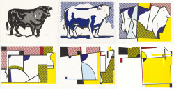 From left to right (top): Roy Lichtenstein, Bull I (1973), line-cut; Bull 2 (1973), lithograph and line-cut; Bull 3 (1973), lithograph, screenprint and line-cut. From left to right (bottom): Roy Lichtenstein, Bull IV (1973), lithograph, screenprint and line-cut; Bull V (1973), lithograph, screenprint and line-cut; Bull VI (1973), lithograph, screenprint and line-cut. All works 68.7 x 89.1 cm. National Gallery of Art, Washington, DC. Gifts of Gemini G.E.L. and the artist.