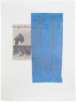 B. Wurtz, Untitled (7831) (2013), plastic bag and newsprint on pigmented cotton base sheet with linen overlay, 30 1/2 x 22 1/2 inches. Image courtesy of Dieu Donné.