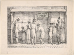 """Carle (Antoine Charles Horace) Vernet, François Delpech's Print Shop (ca. 1820), lithograph with 20th-century lettering addition (""""Rockman Prints""""), image 16.8 x 24.1 cm, sheet 21.9 x 29.3 cm. Collection of the Metropolitan Museum of Art, New York. The Elisha Whittelsey Collection, The Elisha Whittelsey Fund, 1977."""