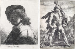 Left: Rembrandt van Rijn, Self Portrait in a Cap and Scarf with the Face Dark: Bust (1633), etching, 13.5 x 10.5 cm. Right: Hendrick Goltzius, The Great Hercules (1589), engraving, 56 x 40.5 cm. Courtesy of Swann Auction Galleries.