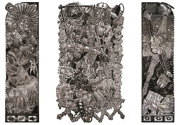 Tom Huck, The Transformation of Brandy Baghead Pts. 1, 2, & 3 (2009), woodcut, left: 82 x 24 inches, center: 82 x 45 inches, right: 82 x 24 inches. Edition of 40. Courtesy of the artist.