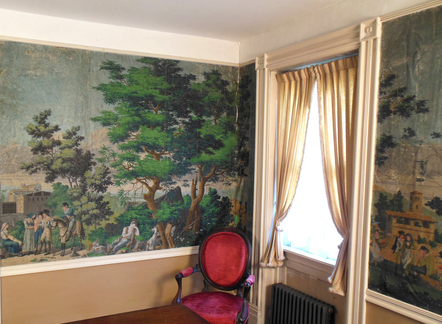 Vues d'Italie wallpaper installed in the house of James Siena and Katia Santibañez in Otis, MA. All color images of the wallpaper in the house are courtesy ...
