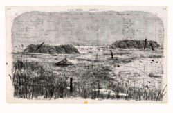 William Kentridge, Rand Mines (1999), etching, softground, aquatint and drypoint, from one copper plate, on spreads from a ledger of 1913, image 37.2 x 62.3 cm, sheet 55.8 x 79.6 cm. Edition of 24. Printed by Malcolm Christian, The Caversham Press, Howick, KwaZulu-Natal, South Africa. Published by Malcolm Christian.