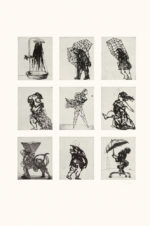 William Kentridge, Zeno at 4am (2001), nine etchings on one sheet with sugarlift aquatint, from nine copper plates, each image 24.5 x 19.8 cm, sheet 98.2 x 81.8 cm. Edition of 12. Printed by Maurice Payne, New York. Published by David Krut, New York.