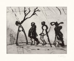 William Kentridge, Four Instruments (2003), drypoint from one copper plate, image 21.5 x 27 cm, sheet 39 x 52 cm. Edition of 40. Printed by Randy Hemminghaus, Galamander Press, New York. Published by David Krut, New York.